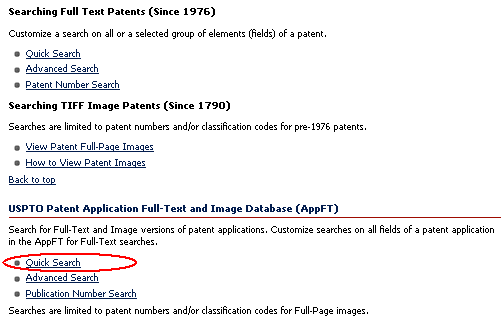 Search Issued Patents, or Patent Applications *click to enlarge*