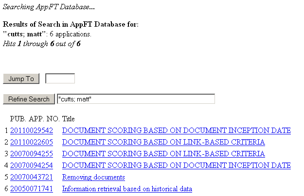 All of Matt Cutts' Patent Applications *click to enlarge*