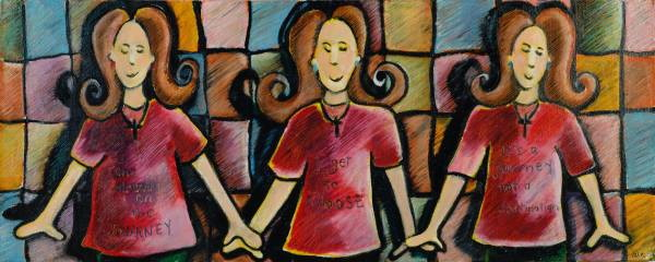 This is a painting of three identical women holding hands.
