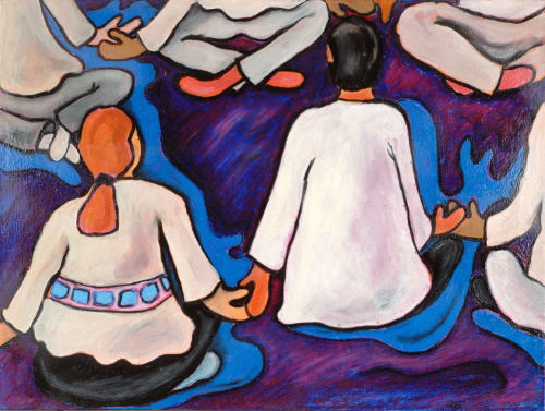 This is a painting of people sitting in a circle while holding hands.