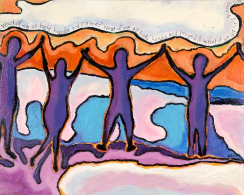 This is a painting of people holding hands on a beach.