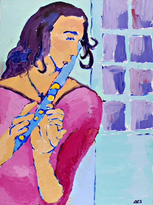 This is a painting of a woman with long hair who is playing the flute.