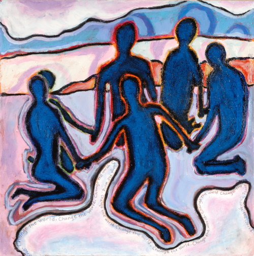 This is a painting of a circle of people holding hands.