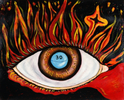 This is a picture of an eye. Flames are coming out of the lid and a blue pill is in the iris of the eye.