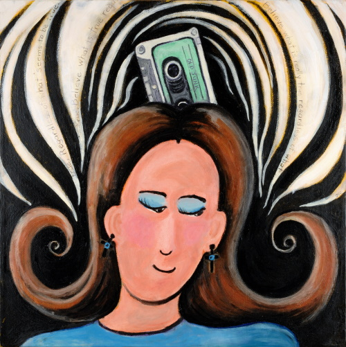 This is a painting of a woman who has a cassette tape inserted into the top of her head.