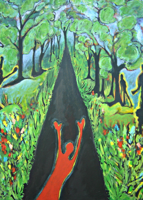 This is a painting of a person waving goodbye at the end of a road.