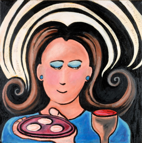 This is a painting of a woman receiving communion.