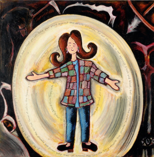 This is a painting of a woman safe inside a bubble that can't be popped by the danger around her.