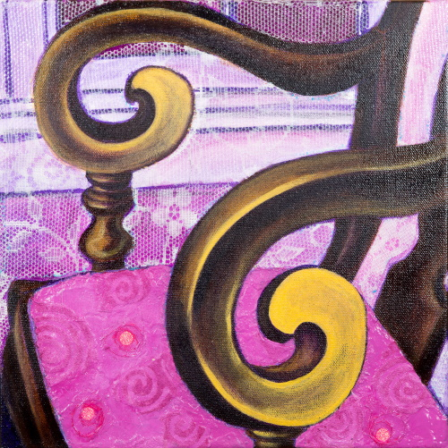 This is a painting of a chair with a pink cushion and swirly arms.