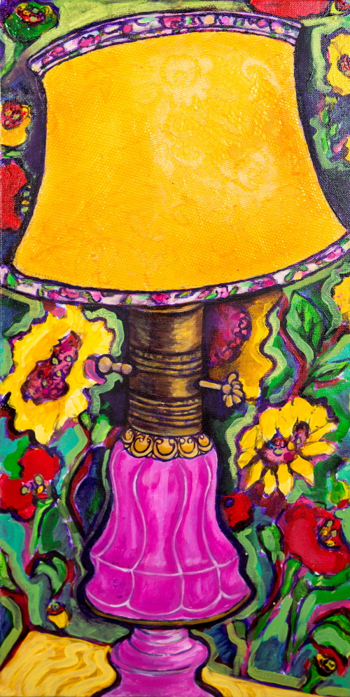 This is a painting of a pink lamp from my childhood home.