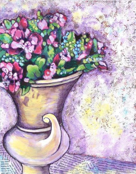 This is a painting of a vase on a table.