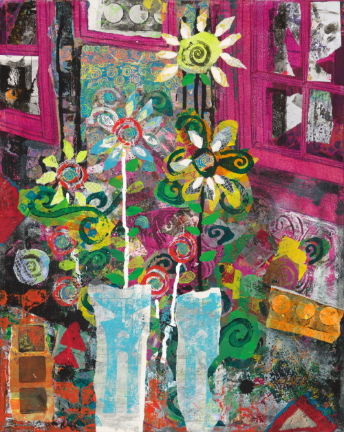 This is a collage of flowers in pots and colorful windows in the background.
