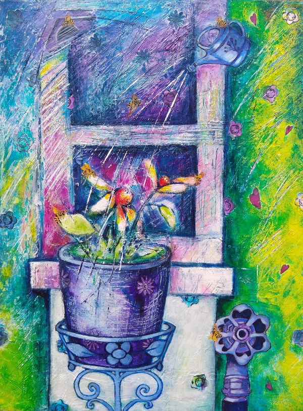 This is a colorful painting of a potted plant on a stand in front of a window sill.