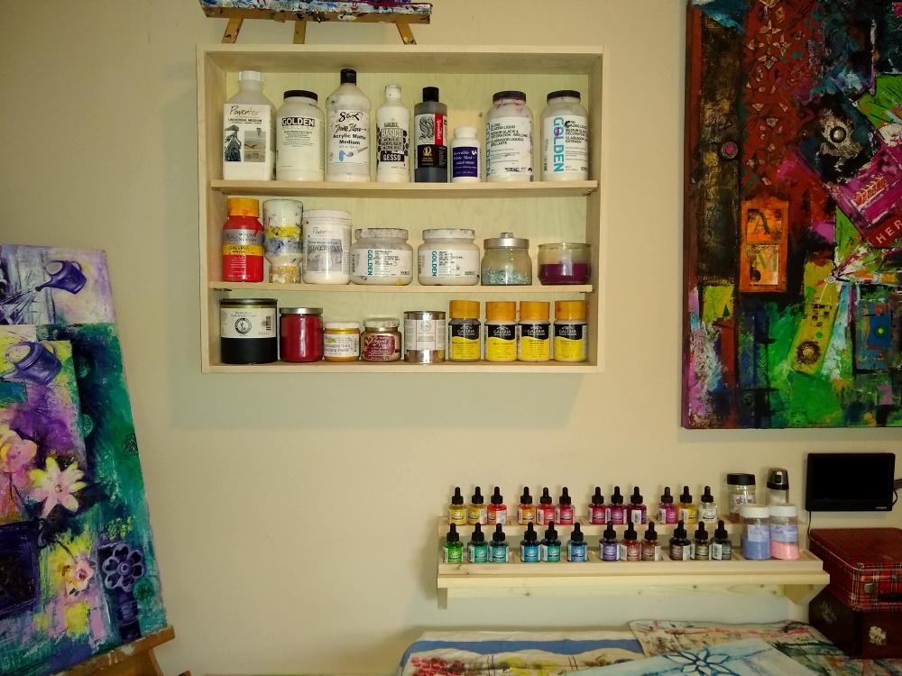 A photo of art studio organization solutions.