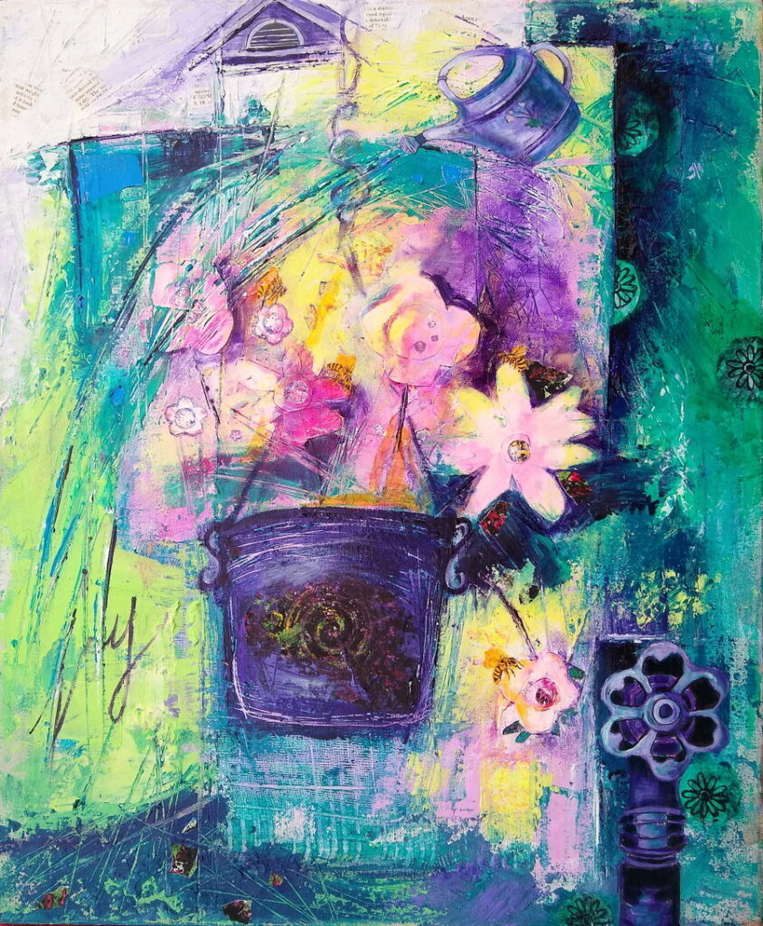 This is a painting of a fanciful hanging pot of flowers being gently watered by a watering can.
