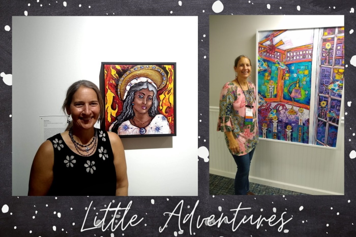 These are photos of an artist at galley openings where her work is on exhibit. One of the photos is of the artist at the 8th Catholic Biennial. The other photo is of the artist exhibiting at the 2021 International Society of Experimental Artist's annual juried exhibit.
