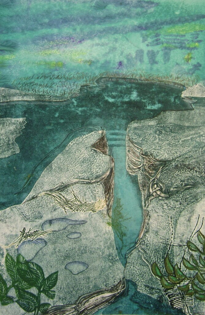 Foggy River Edge - Monoprint