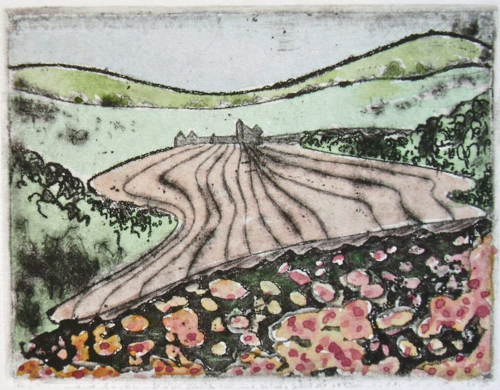 In the Valley - Hand Colored Etching