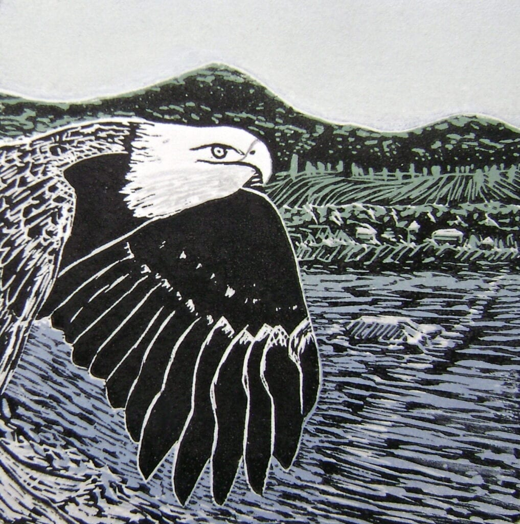 The Flyover - Reduction Linocut