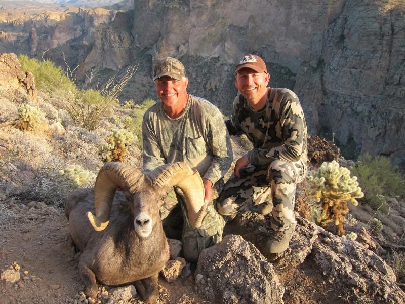 Arizona Desert Bighorn Ram taken in Unit 22 with Jay Scott.