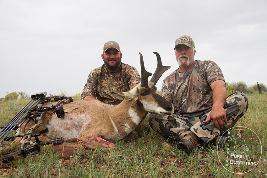 Jimmy Hoffman (guide) & Bryon with a great archery pronghorn.