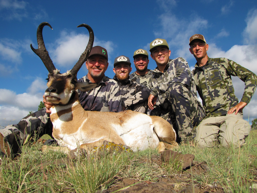 Mike & his boys with Lee Murphy celebrating Mike's big pronghorn antelope.