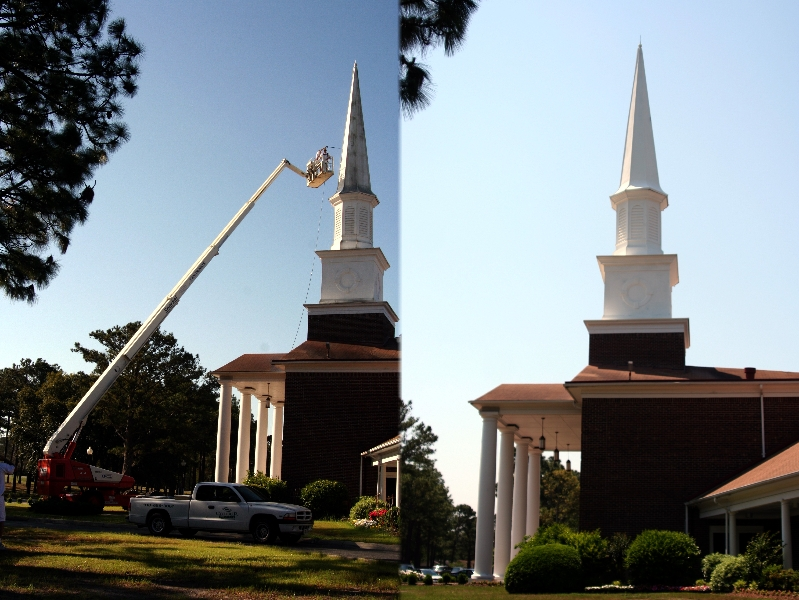Church Steeple, Pressure Washing