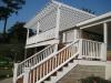 Exterior pergola, railings, and stairs