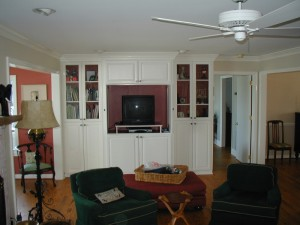 painted shelves and cabinets