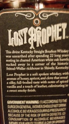 Stitzel-Weller Lost Prophet Side Label