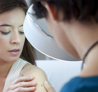 woman preparing for surgical dermatology