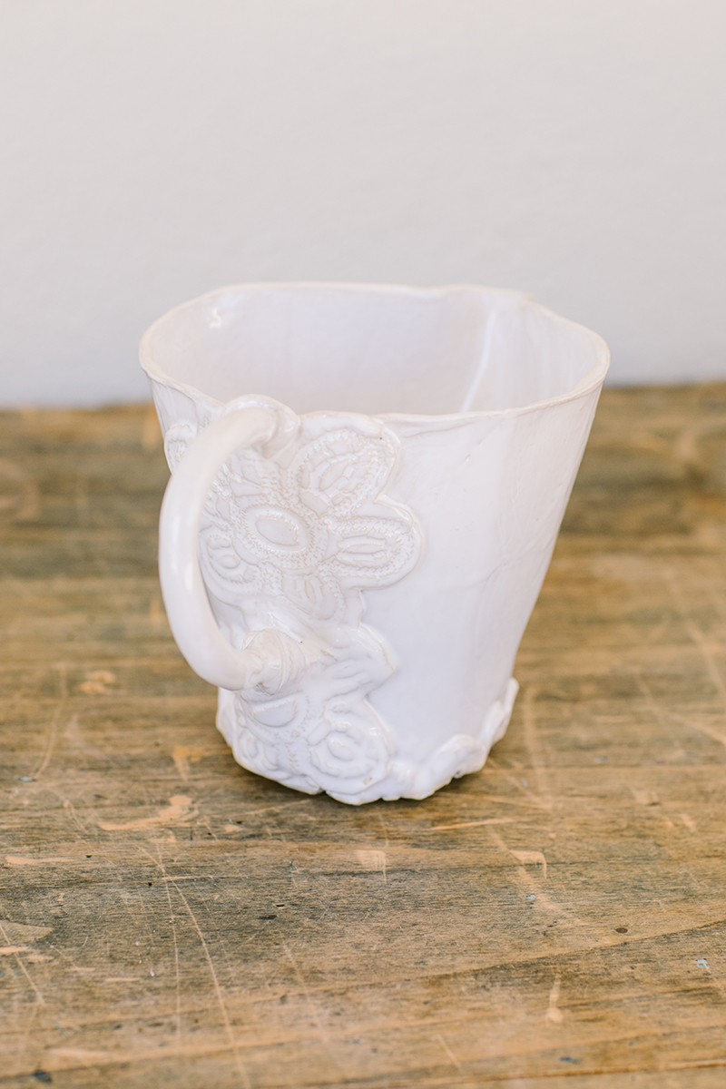 irit goldberg flower white ceramic pitcher