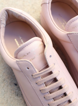 zespa pink leather sneakers closeup