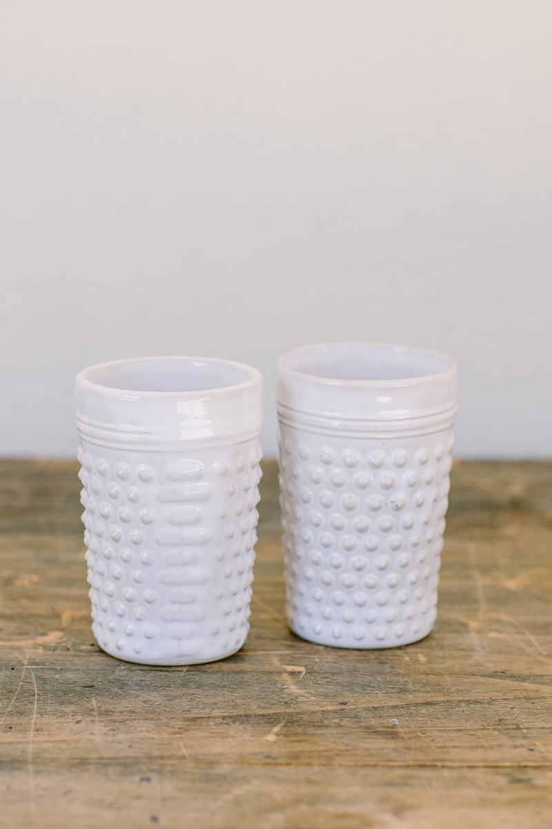 irit goldberg porcupine white ceramic cups