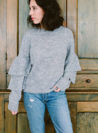v de vinster gray sweater ruffle sleeve
