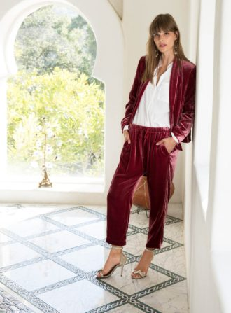 xirena rose velvet blazer and pants