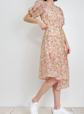 apiece apart sandrine silk print dress