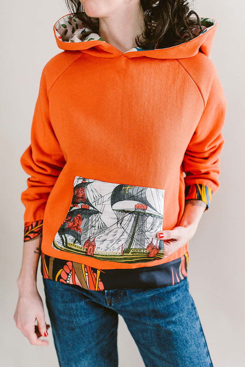 la prestic orange top silk and sweatshirt