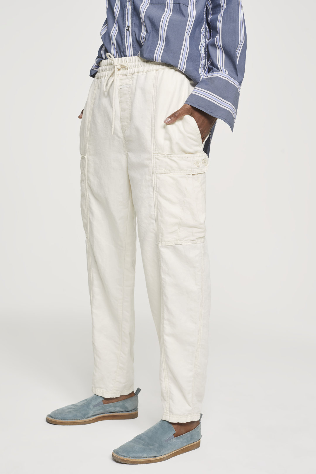 closed cream cargo pants