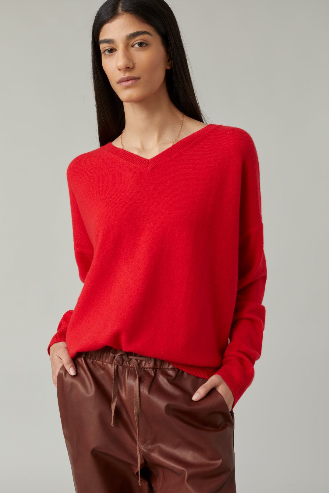 closed merino and cashmere red sweater