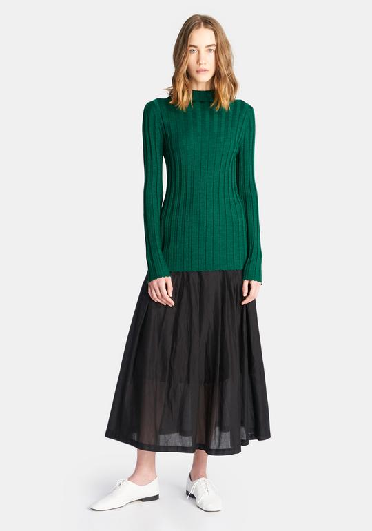 demylee_KARLYTOP_EMERALDGREEN ribbed turtleneck