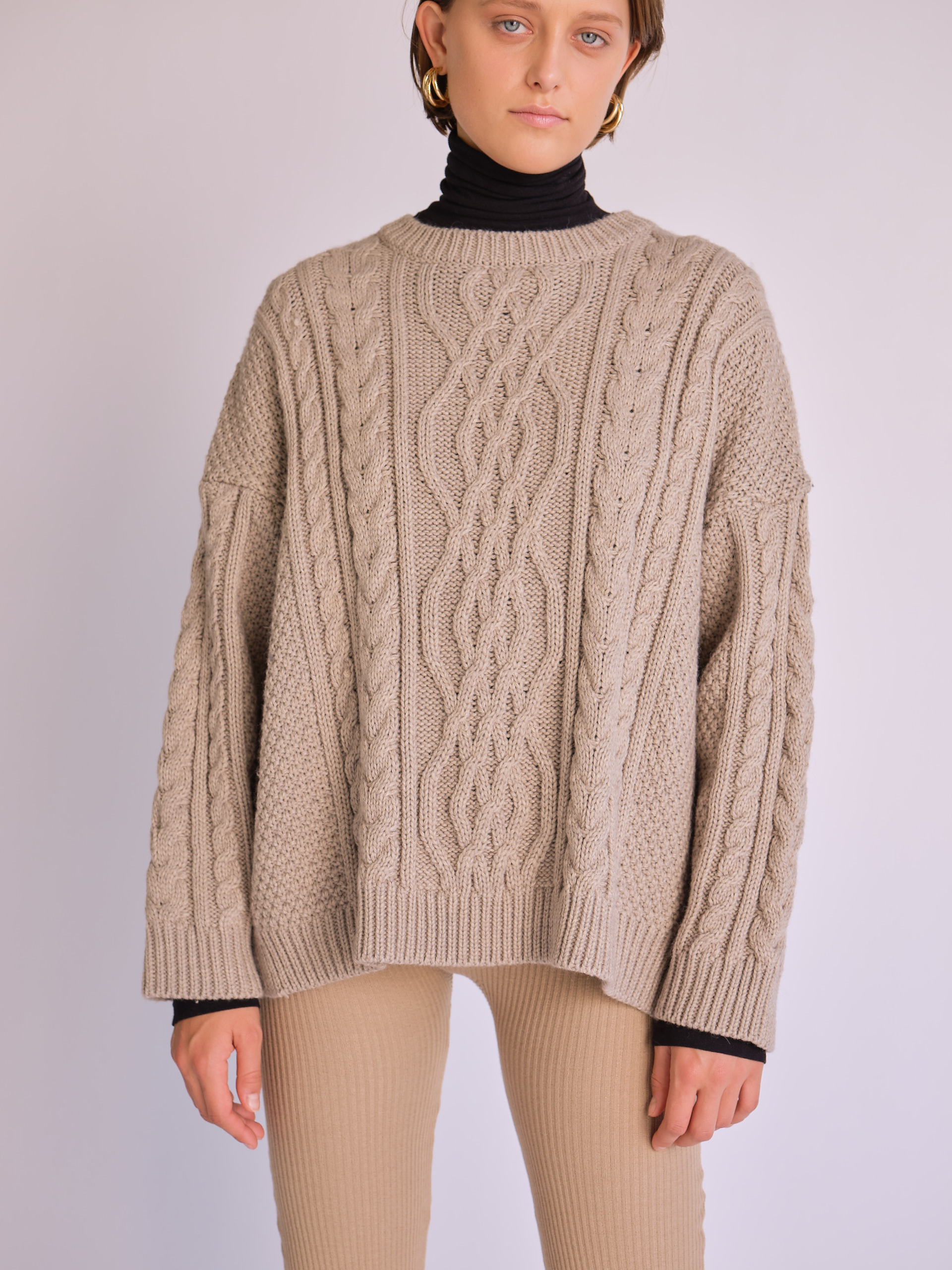 MijeongPark_beige cable sweater