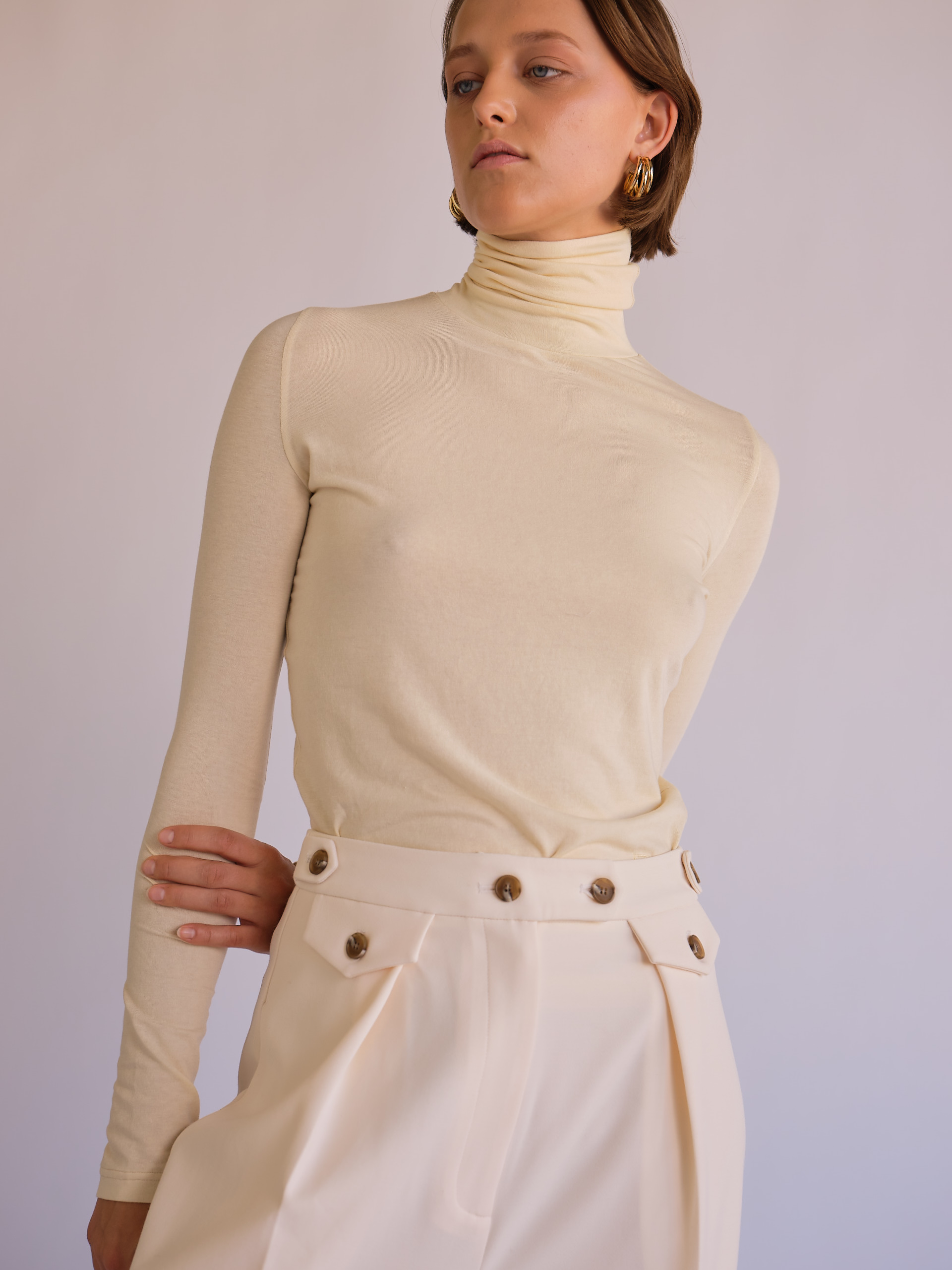 MijeongPark_cream roll neck top