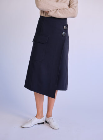 MijeongPark_navy wrap skirt