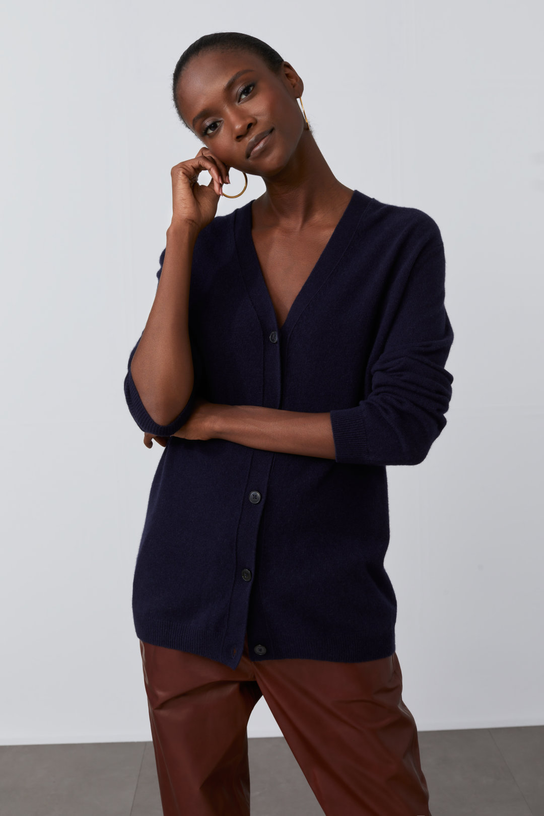 closed navy cardigan