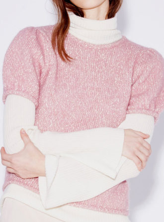 demylee pink ss sweater over shirt