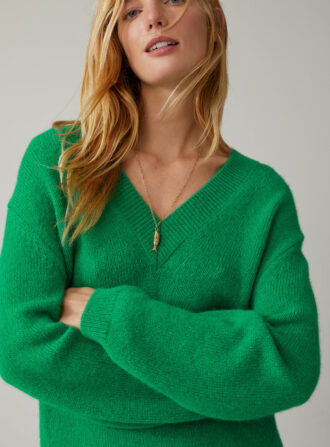 closed baby alpaca green sweater