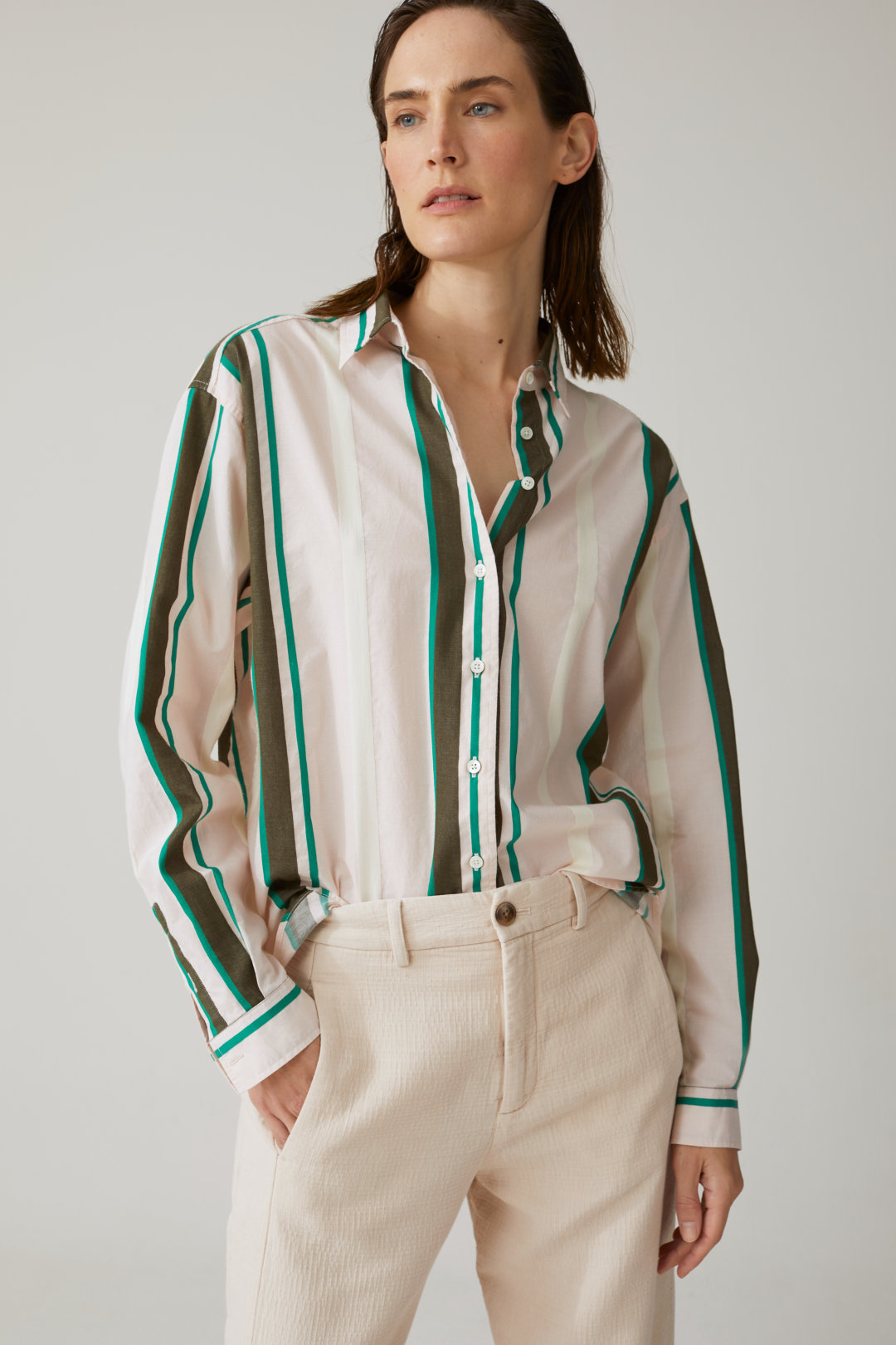 closed striped blouse