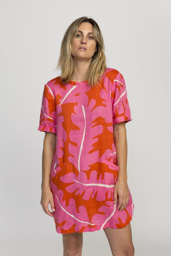 trovata pink palm dress