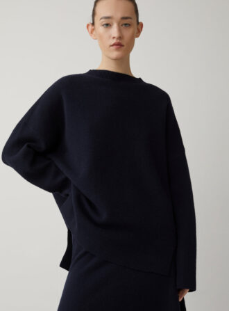 closed navy sweater
